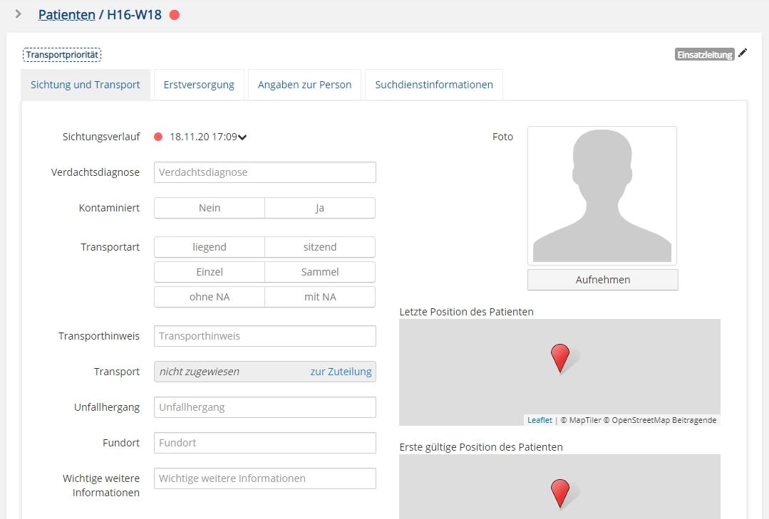 Patienteninformationen auf der App erfassen